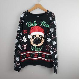Ugly Christmas Sweatshirt Christmas Pug Large
